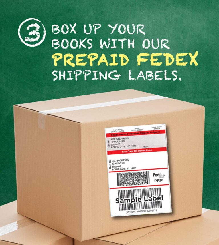 Box up your books with our PREPAID FEDEX shipping labels